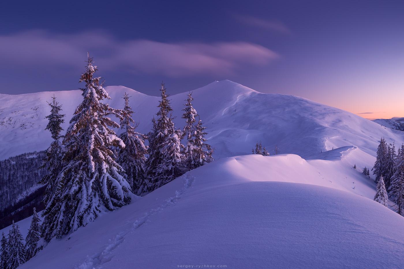 Зима в Карпатах, хребет Пішконя