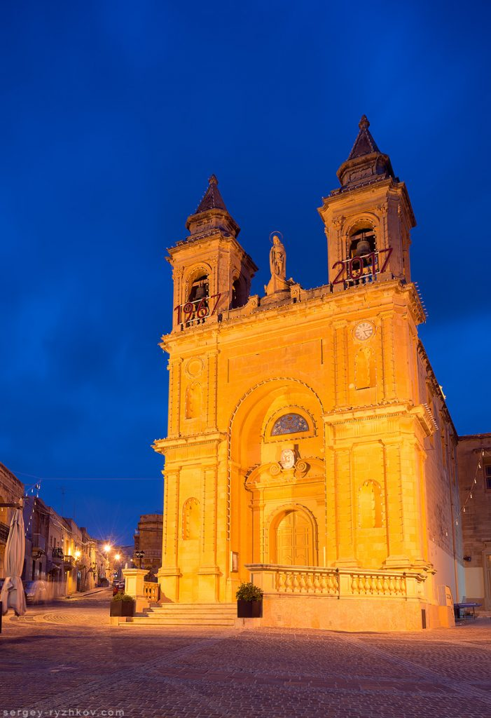 Marsaxlokk Parish Church at the night, Malta