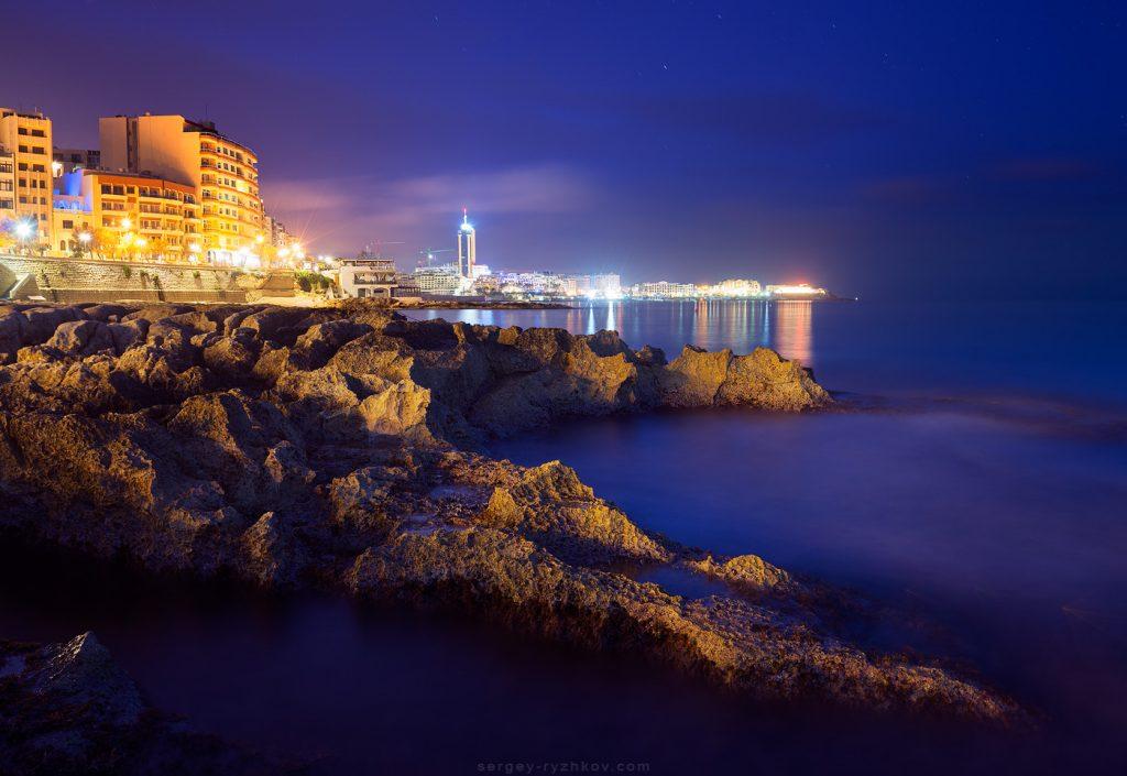 Night view of St. Julian's from Fond Ghadir Beach, Malta