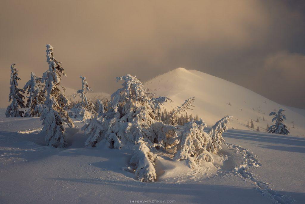 Туман зимовим ранком в горах