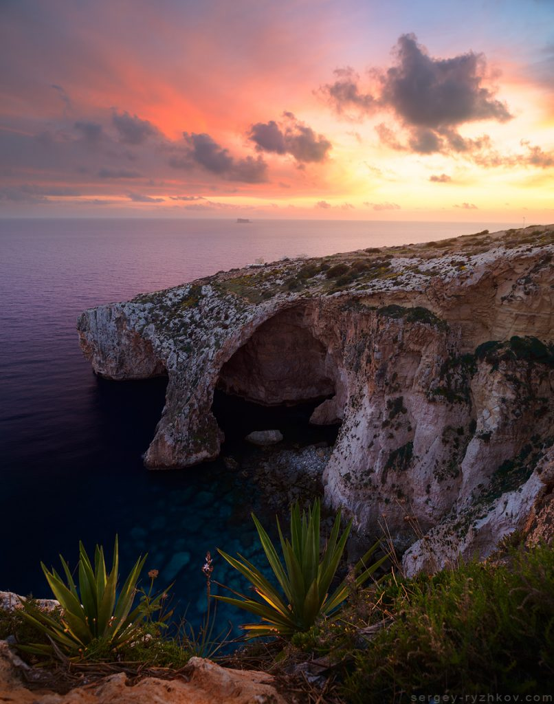 Blue Grotto at sunset. Famous viewpoint in Malta