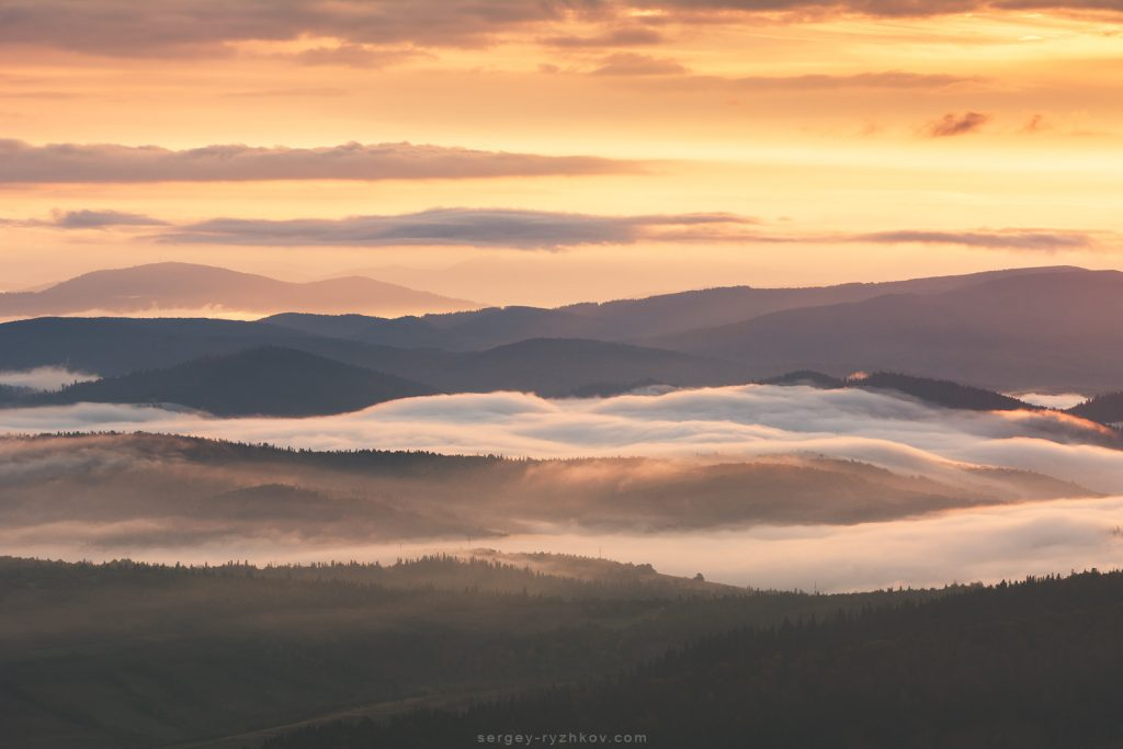 Туман стелиться долиною на світанку