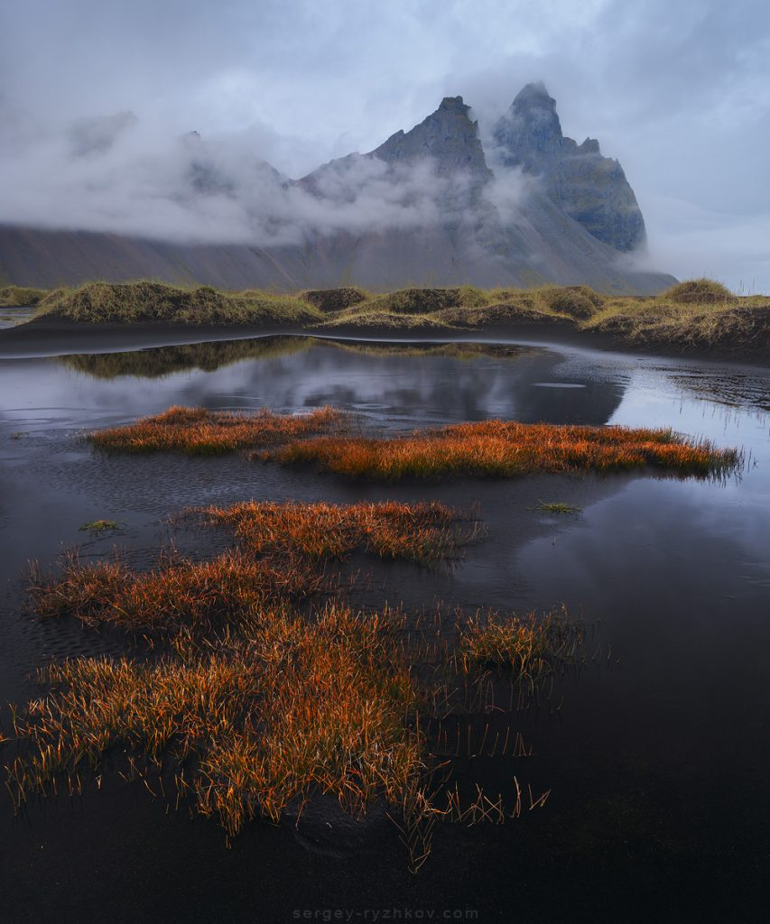 Kambhorn peak in clouds, Iceland