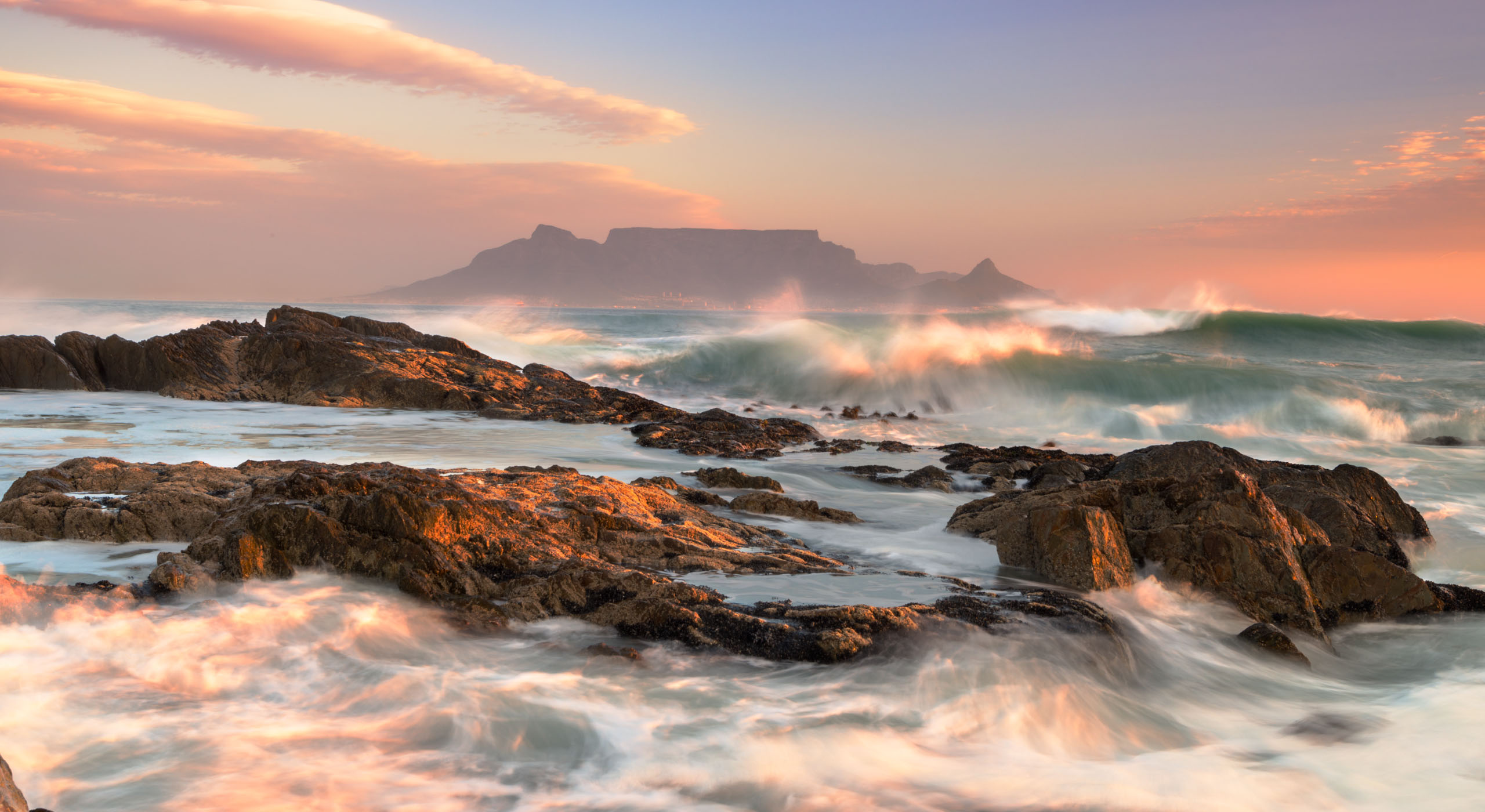 View to Table Mountain from oceanic coast