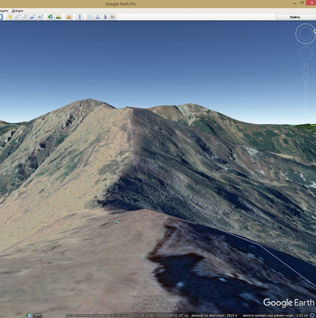 Вид місцевості на Google Earth в 3D-режимі