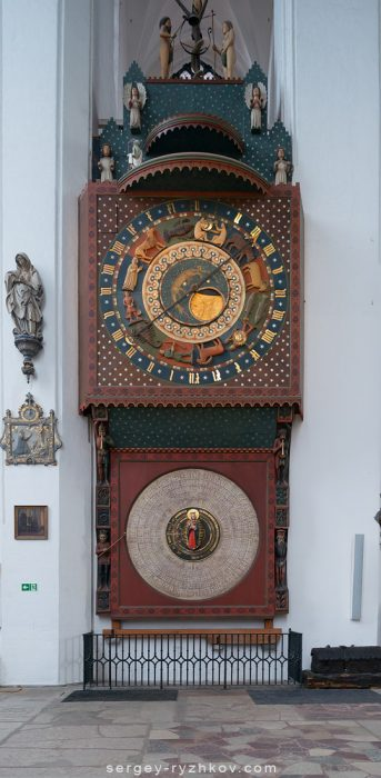 Gdańsk astronomical clock in St. Mary's Church. Gdansk, Poland. 2 March 2019