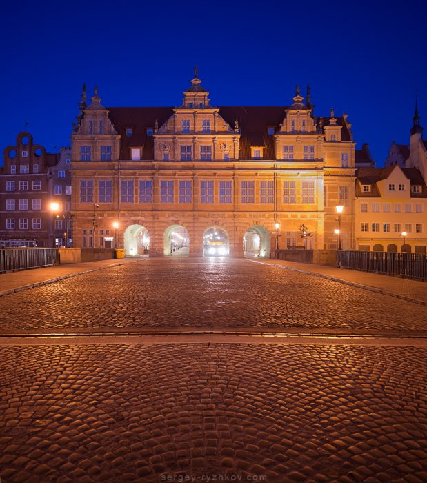 Green Gate in the night. Gdansk, Poland