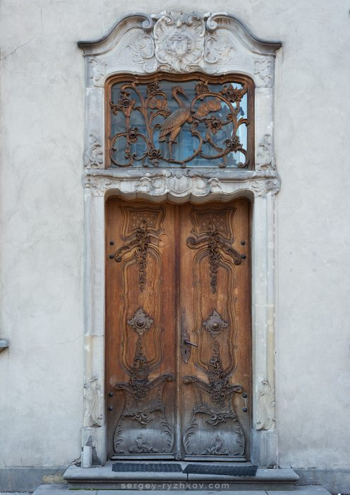 Old wooden door in Main City of Gdansk, Poland