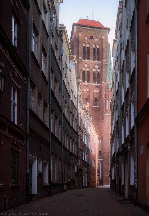 St. Mary's Church. View from Kaletnicza street. Gdansk, Poland