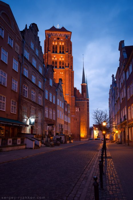 St. Mary's Church in night. View from Piwna street. Gdansk, Poland. 3 March 2019