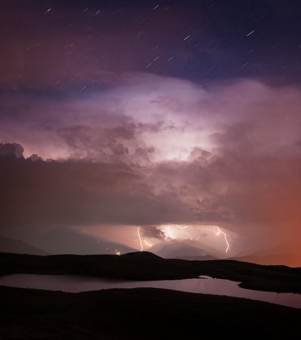 Storm lighting in Caucasus Mountains, Georgia