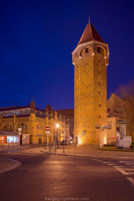Jacek tower by night. Gdansk, Poland. 3 March 2019