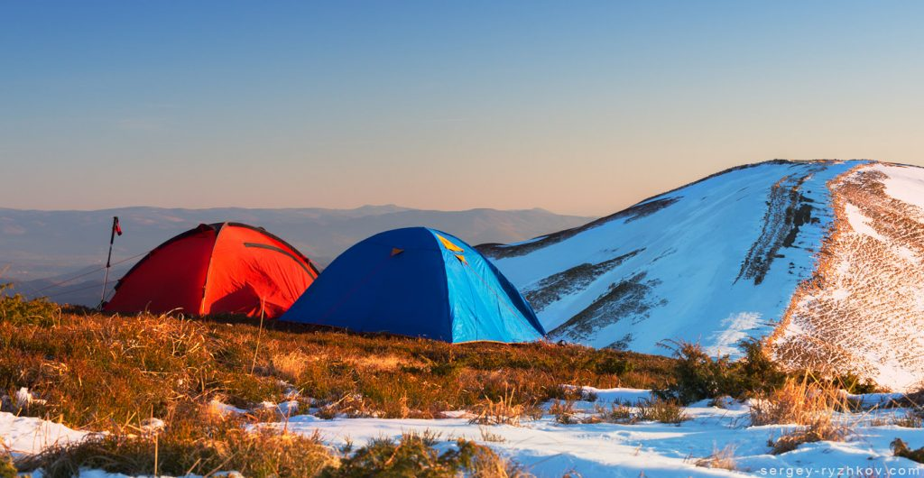 Tourist tents on highlands in spring