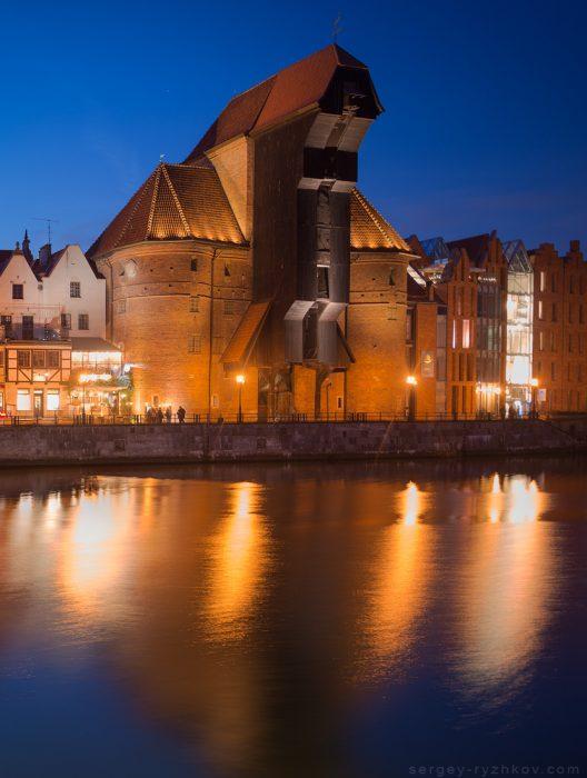 Dlugie Waterfront and Zuraw Crane. Gdansk, Pland. 3 March 2019
