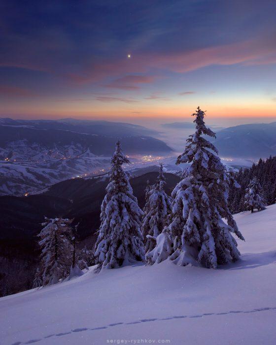 Зима в Карпатах на хребті Пішконя