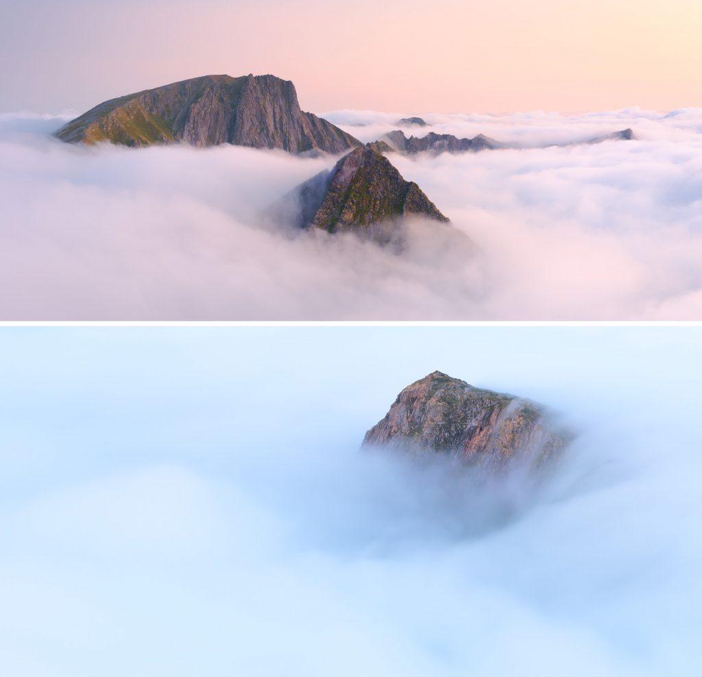 Вершини скелястих гір у тумані