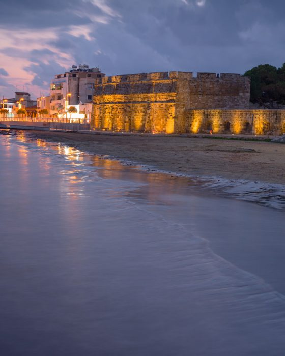 Larnaca Castle in the night, Cyprus