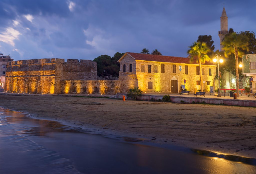 Larnaca castle in night