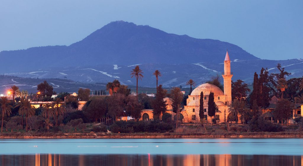 Hala Sultan Tekke by bight on bank of Larnaca Salt Lake, Cyprus