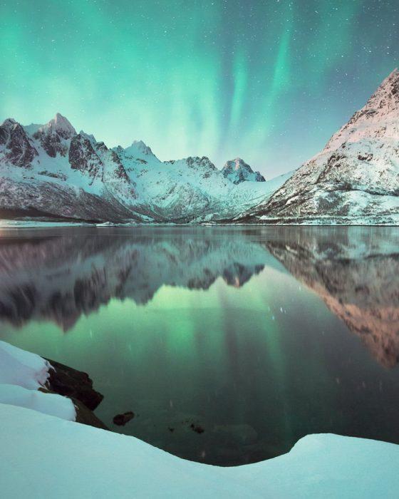 Aurora in winter Lofoten