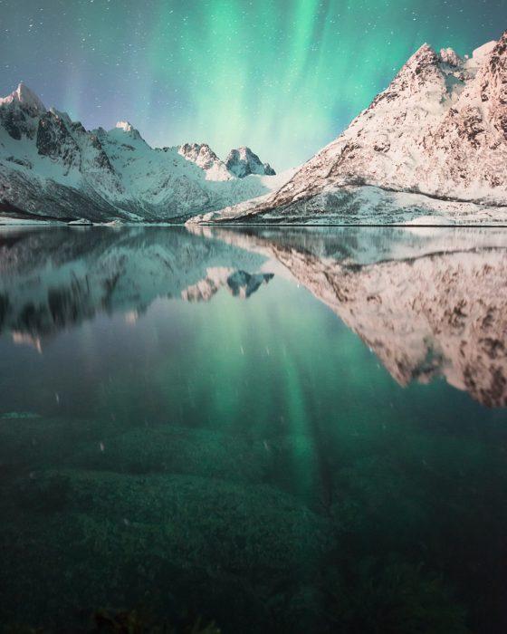 Northern lights over the Austnesfjorden